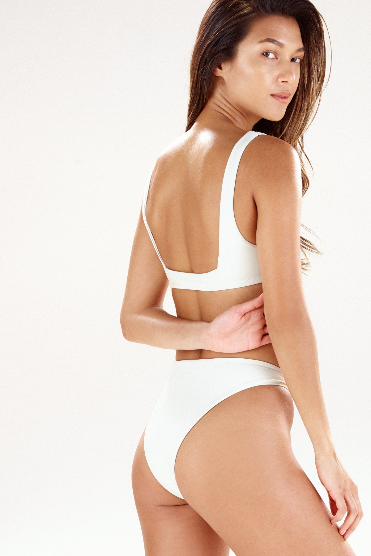 Back view of Monaco bikini bottom in cream