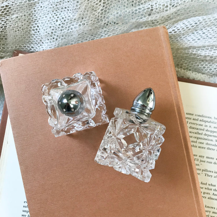 Vintage Square Salt + Pepper Shakers