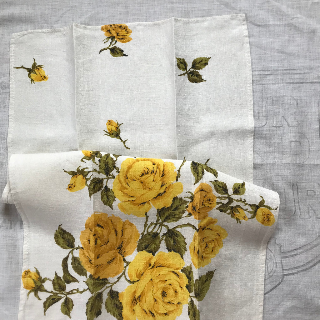 Linen rose tea towel