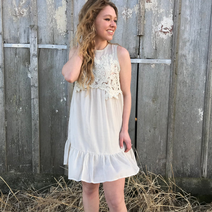 Wheat Flour Yoke Dress, sleeveless dress, - Refined Peddler Apparel