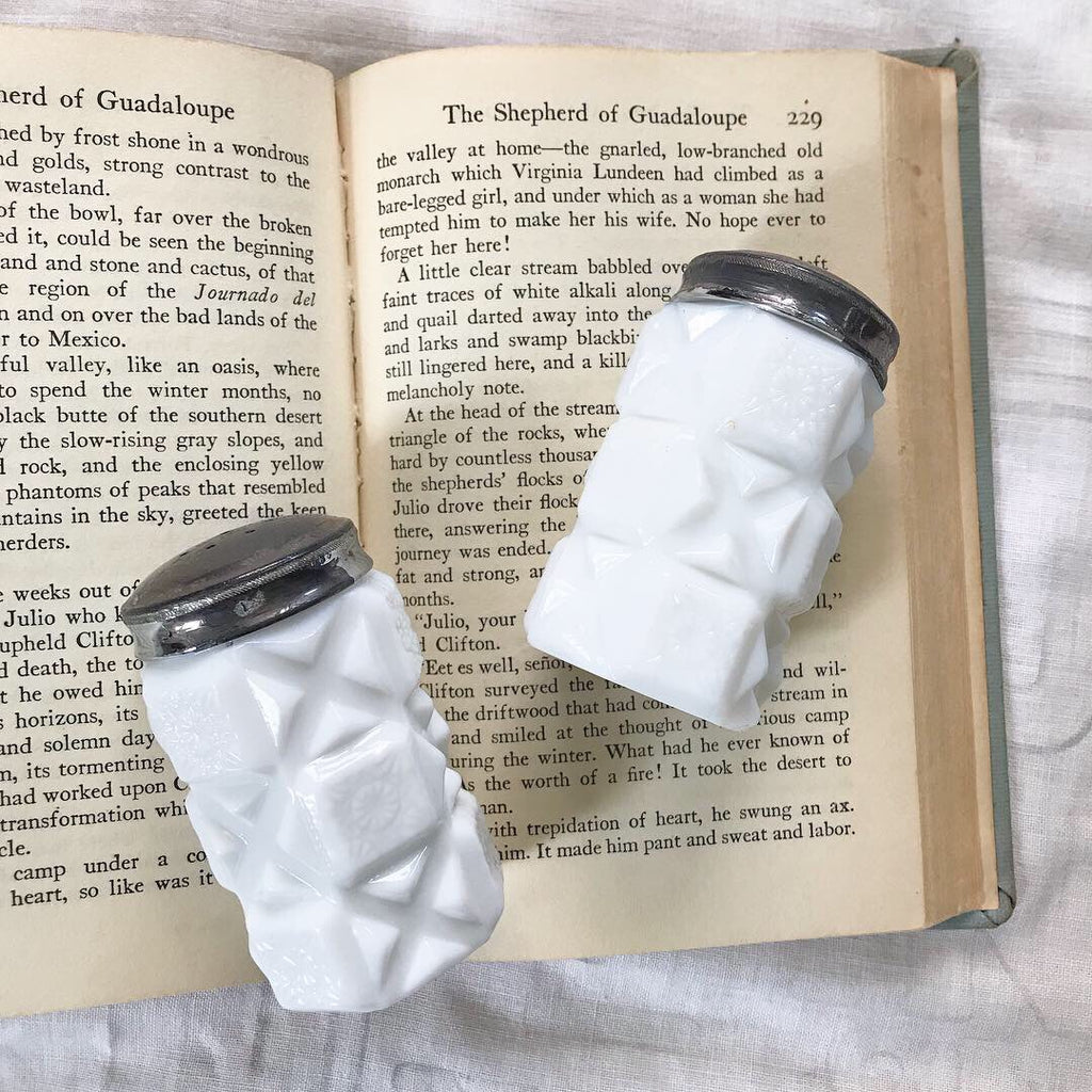 Ember milk glass salt + pepper shakers