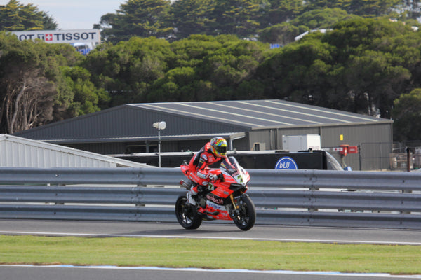 World Super Bikes Phillip Island, Chaz Davies coming onto circuit in qualifying