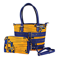 yellow blue african print bag