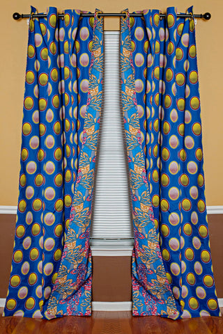 Blue pink yellow African print curtains