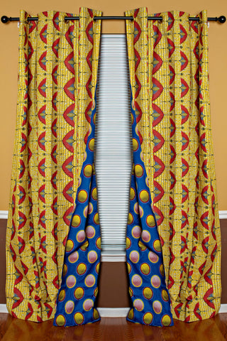 Blue yellow african print curtains