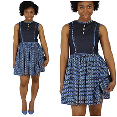 denim jean african print dress
