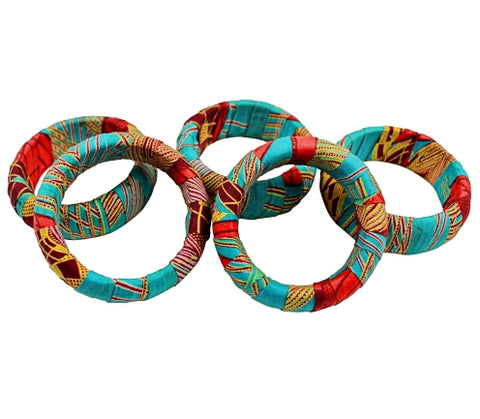 green red african print bangles bracelets