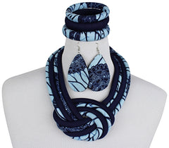 blue african print jewelry set