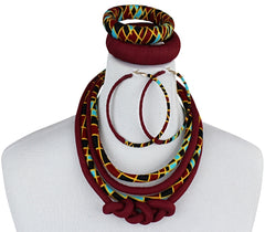 African print knot jewelry set