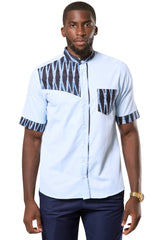 men blue african print shirt