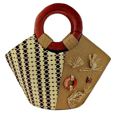 brown african print bag