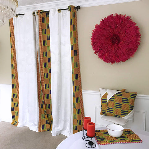 kente african print curtains pillows cushions placemats