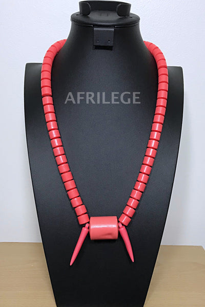 Coral Nigerian Wedding beads necklace - Afrilege