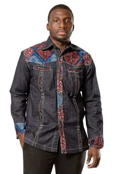 Adi African print light denim jeans men shirt - Dark grey, Red - Afrilege