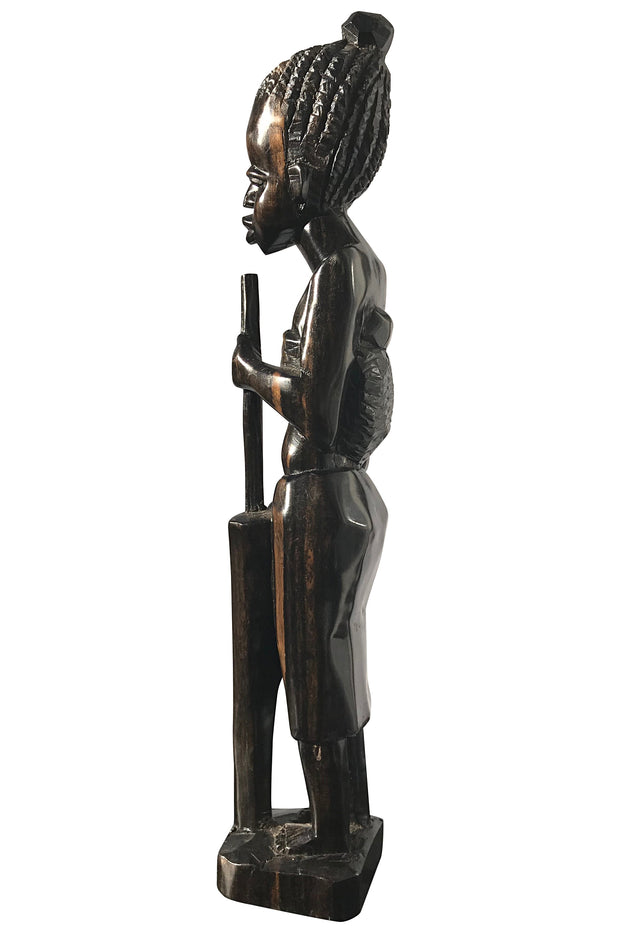 Ebony wood Hand Carving African woman statue Figurine - Afrilege