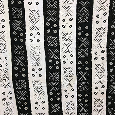 African Mudcloth Fabric from Mali - White / Black - Afrilege