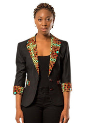 Hadja Women Workwear African Print Blazer - Black / Red - Afrilege