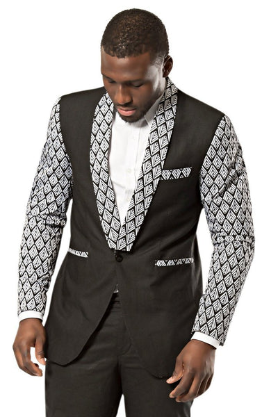 Zane Black and White Men's African Print Blazer (Blazer & pant) - Afrilege