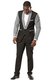 Blazer - Zane Black And White Men's African Print Blazer (Blazer & Pant)