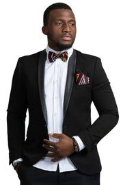 Bamenda Toghu African Print Bow Tie & Square Pocket Set ( Black/ Red/ white) - Afrilege