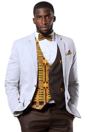 Kadir African Print Bow Tie and Square Pocket Set (Brown kente) - Afrilege