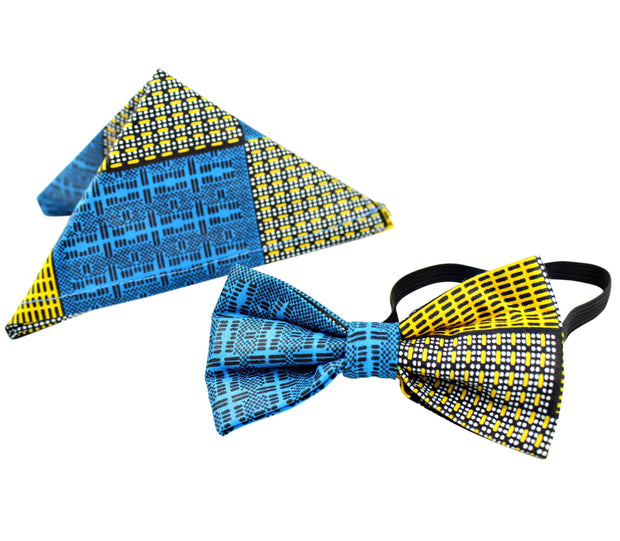 Kael African Print Bow Tie and Square Pocket Set (Blue kente) - Afrilege