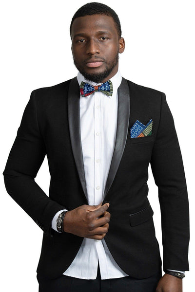Bow Tie - Vadik Kente African Print Bow Tie And Square Pocket Set (blue Green Red Kente)