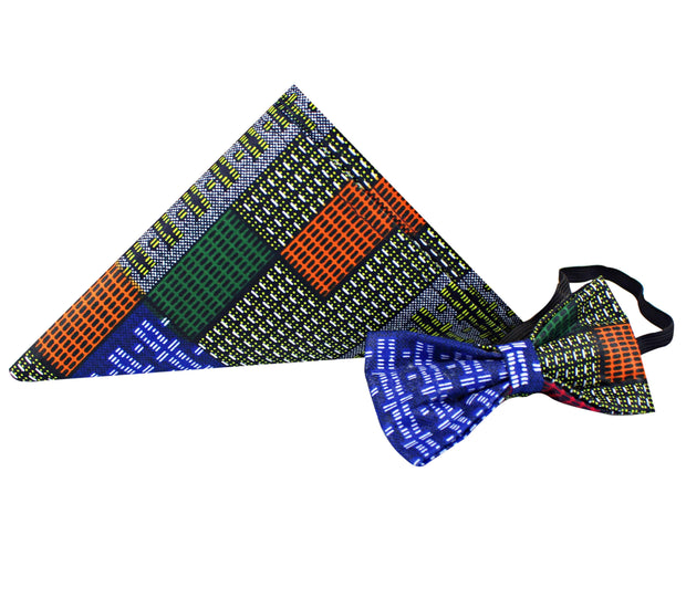 Vadik Kente African Print Bow Tie and Square pocket set (blue green red kente) - Afrilege