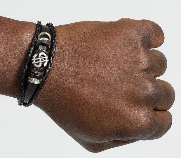 Dollar Symbol Men Leather Bracelets - Afrilege