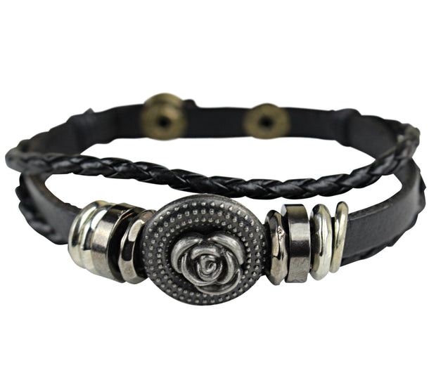 Flower Men Leather Bracelets - Afrilege