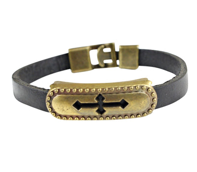 Retro Cross Symbol Men Leather Bracelets - Afrilege