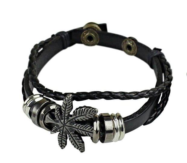Bracelet - Weed Leaf Symbol Men Leather Bracelets