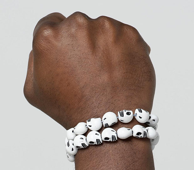 Bracelet - White Skulls Head Bracelets For Men