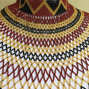 African Beaded Maasai Shoulder Choker Necklace - Maroon / Black / Gold - Afrilege