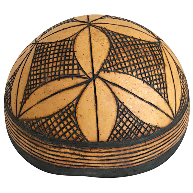 African Carved and Decorated Gourd Bowl - Afrilege