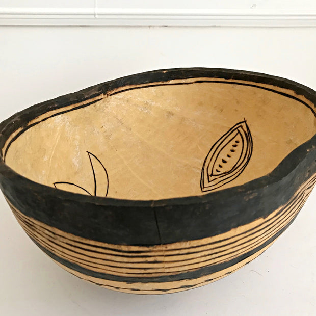 African Hand-carved and Decorated Gourd Bowl - Afrilege