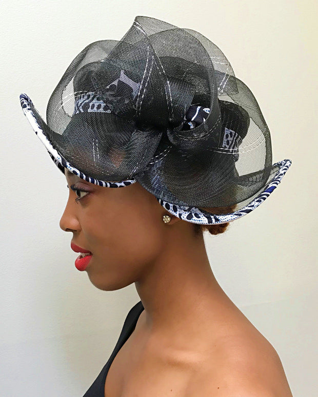 African Print Church hat - Black - Afrilege