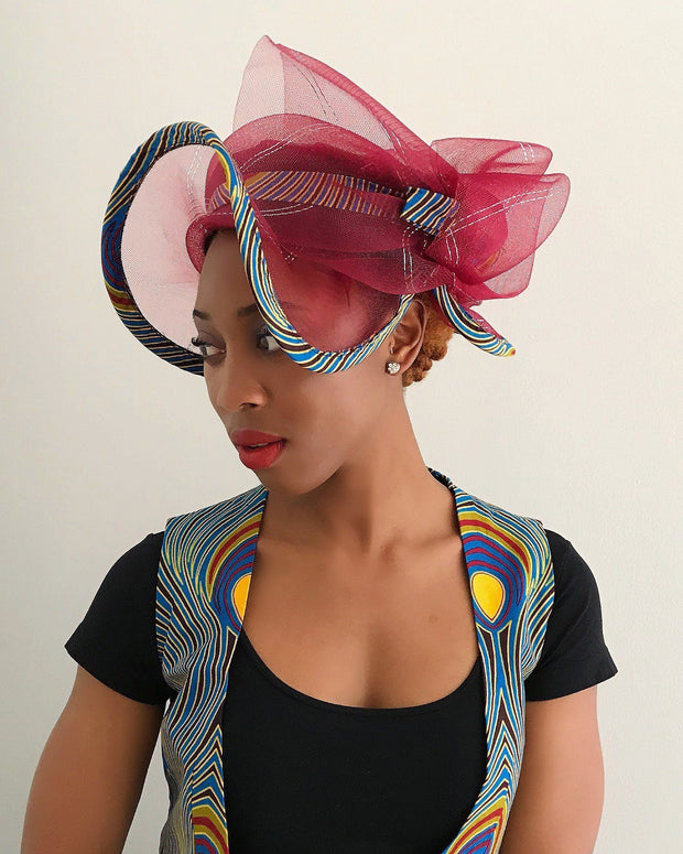 African Print Church hat - Maroon / Peacock - Afrilege