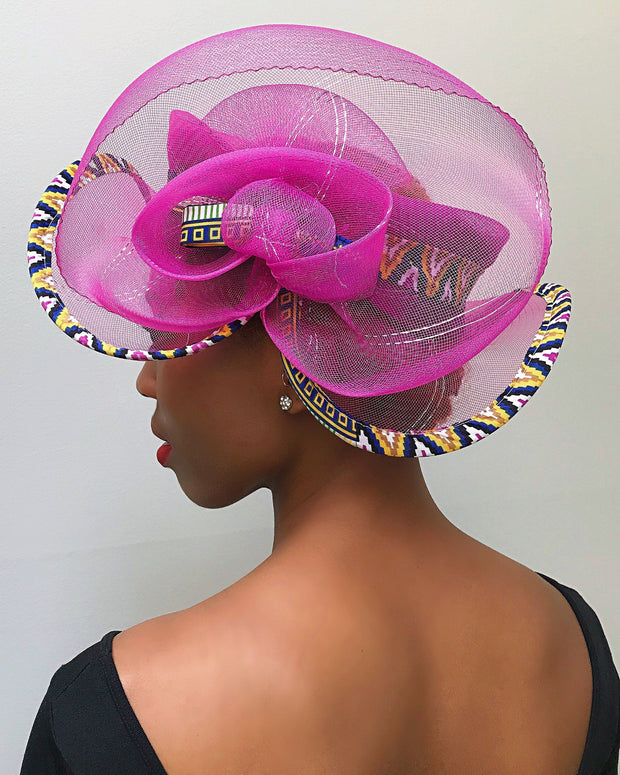 African Print Church hat - Pink - Afrilege