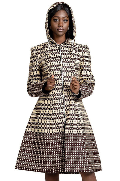 Aveye Women African Print Hooded Coat (Brown / Beige) - Afrilege