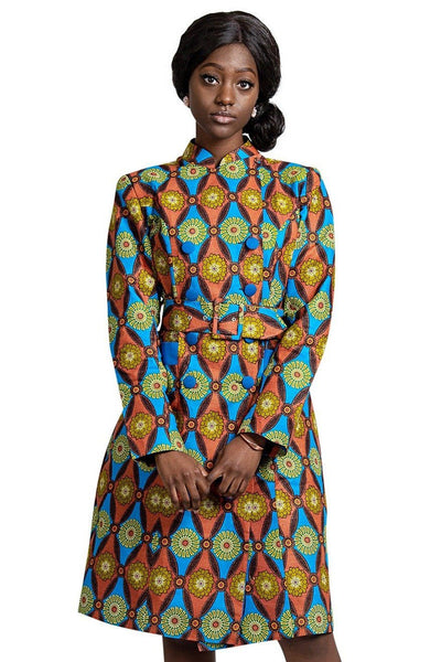 Valda Women African Print Coat ( Blue / Red) - Afrilege