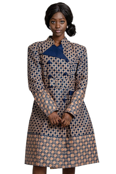 Vanna Women African Print Coat Dress ( Navy Blue / Brown) - Afrilege