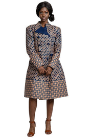 Coats - Vanna Women African Print Coat Dress ( Navy Blue / Brown)
