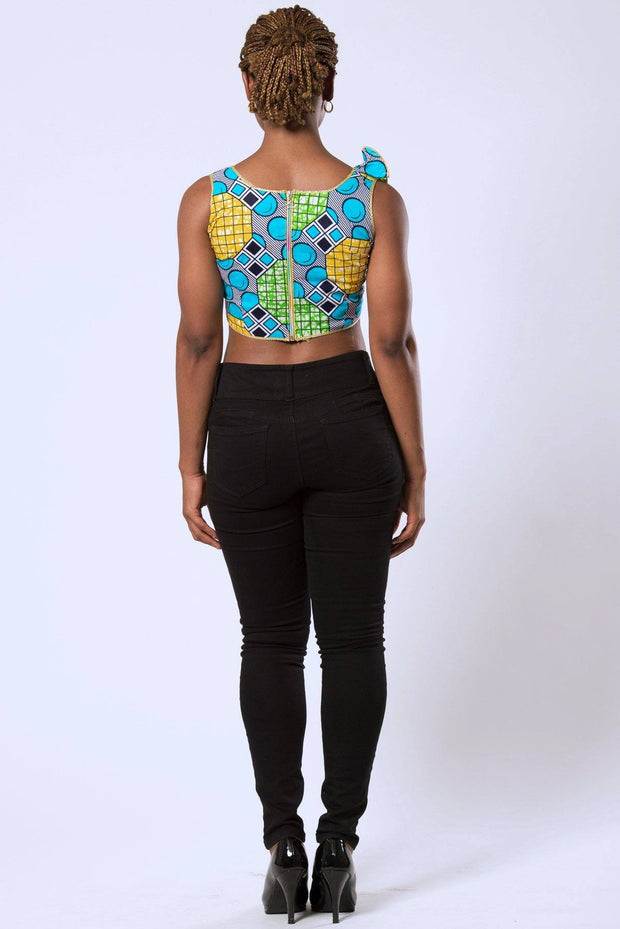 Deli African Print Crop Top - Green / Blue / Yellow - Afrilege