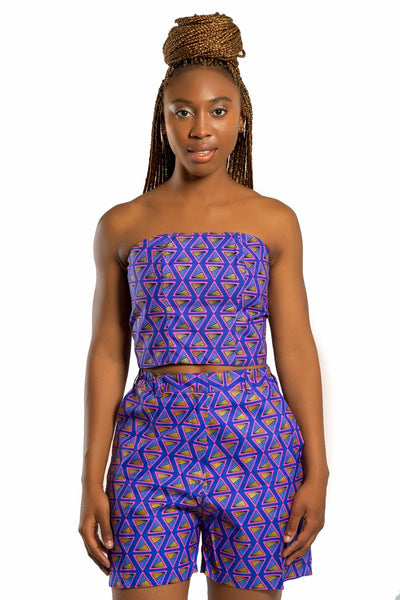 African Print Nina Lace Crop Top (Purple) - Afrilege