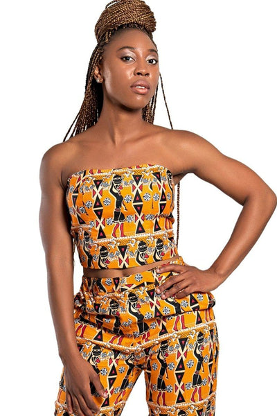 Masika African Print Ankara Crop top (Orange) - Afrilege