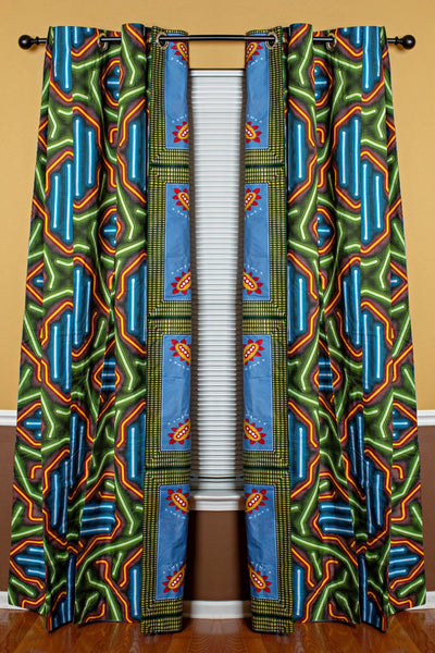 Kamaria African Print Double Sided Reversible Grommet Top Curtains- Blue/ Green - Afrilege