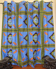 African Print Double Sided Grommet Top Curtains- Blue/ Green - Afrilege