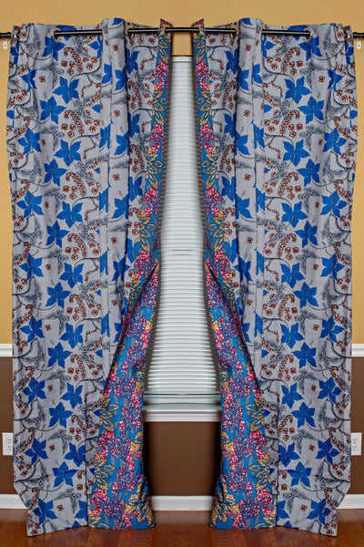 Double Sided Reversible Grommet Top African Print Curtains - Blue/ Pink / Yellow - Afrilege