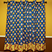 African Print Double Sided Grommet Top Curtains - Blue & Yellow - Afrilege